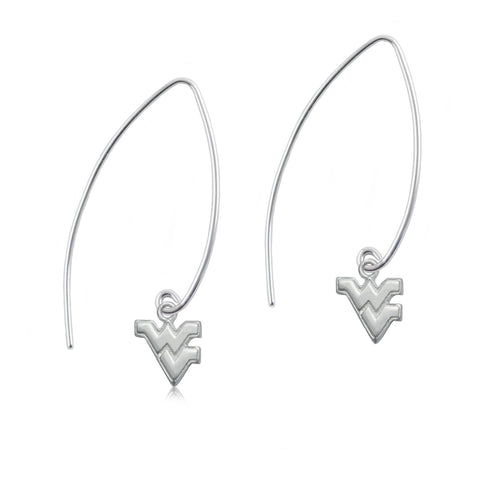 NCAA West Virginia Mountaineers Silver Fishhook Earrings