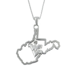 NCAA West Virginia Mountaineers Silver State Outline Necklace