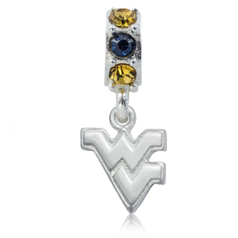NCAA West Virginia Mountaineers Silver Crystal Charm Bead