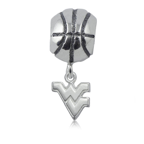 NCAA West Virginia Mountaineers Silver Basketball Charm Bead
