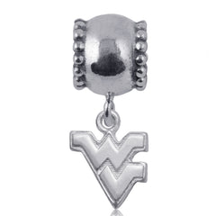 NCAA West Virginia Mountaineers Silver Daisy Charm Bead
