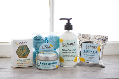 Avital's Italian Sunshine Collection: soap, fizzies, Body Butter, lotion, and Scrub Bee