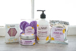 Collection of Avital's Lavender Scented products: Soap, fizzies, body butter, lotion, and Scrub Bee