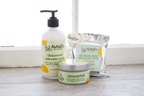 Avital's Unscented Collection: Lotion, Body Butter, and Scrub Bee