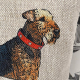 airedale terrier lavender bag detail