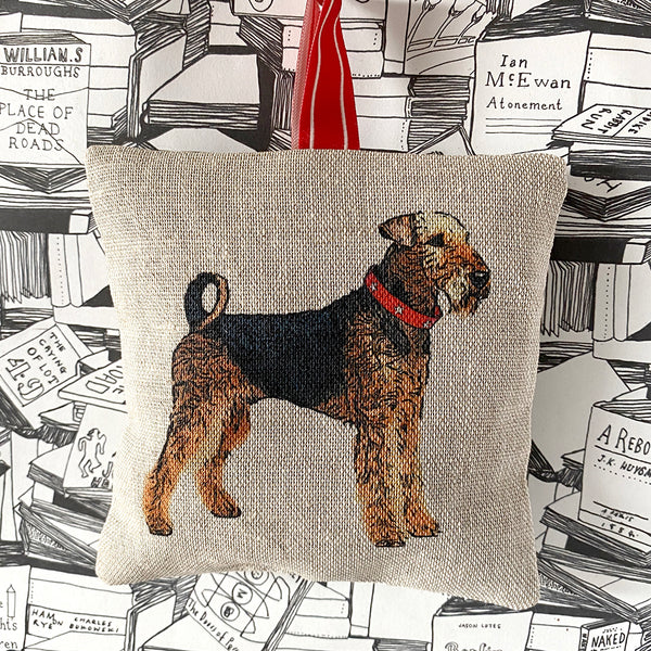 airedale terrier lavender bag