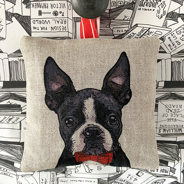boston terrier lavender bag