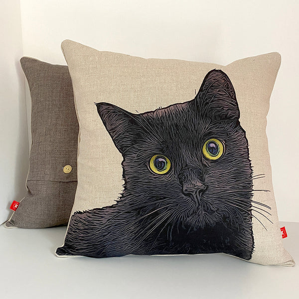 black cat feature cushion