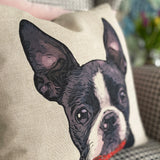 boston terrier cushion detail
