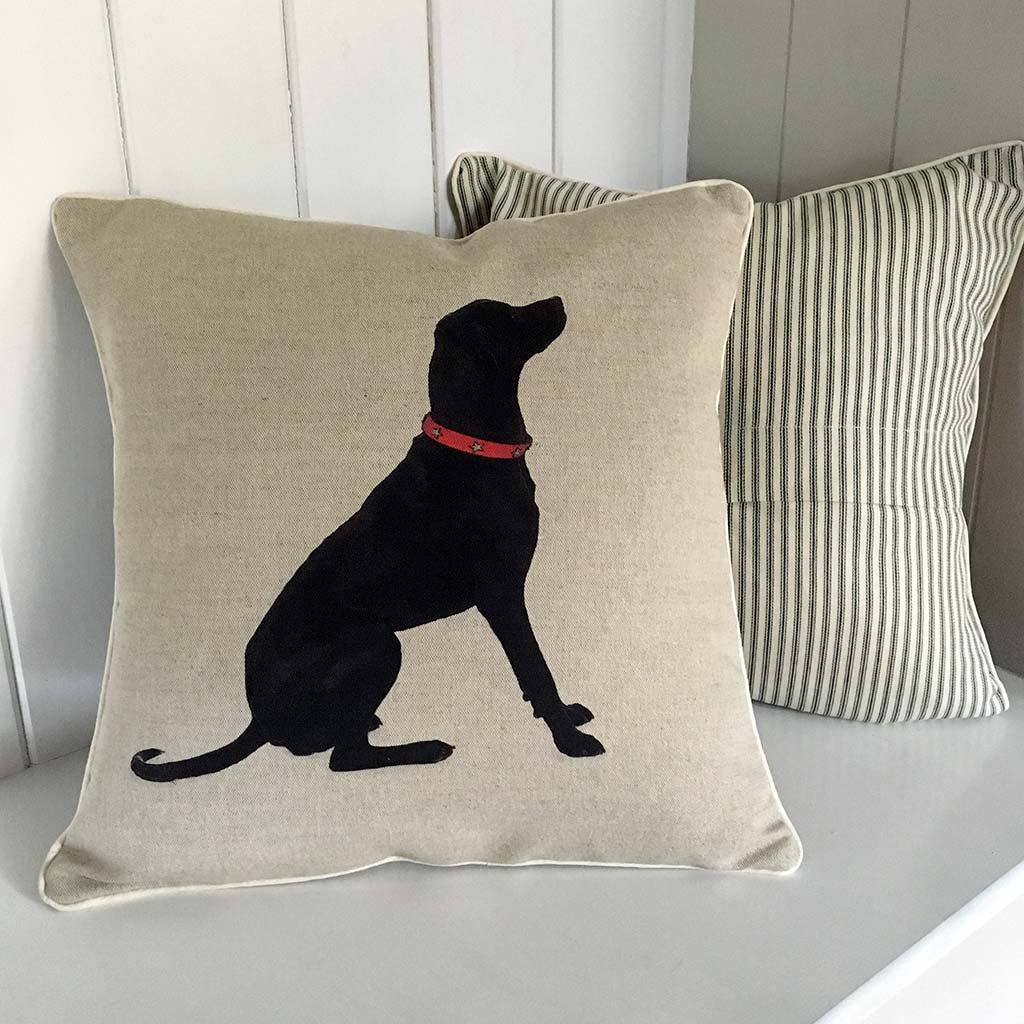 black labrador dog portrait contemporary linen cushion