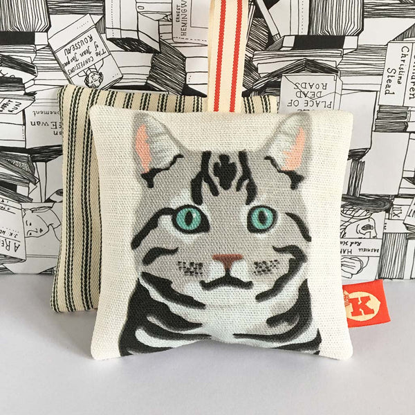Silver Tabby cat lavender bag