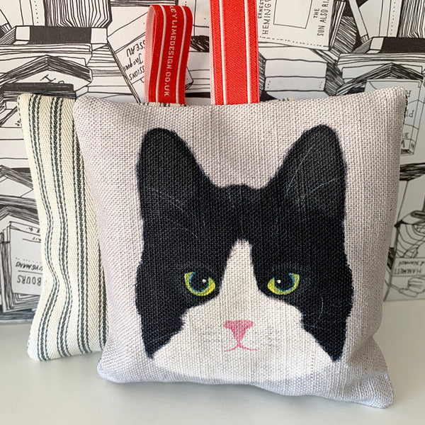black and white cat lavender bag
