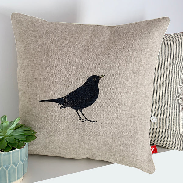 contemporary country blackbird wildlife linen fabric cushion