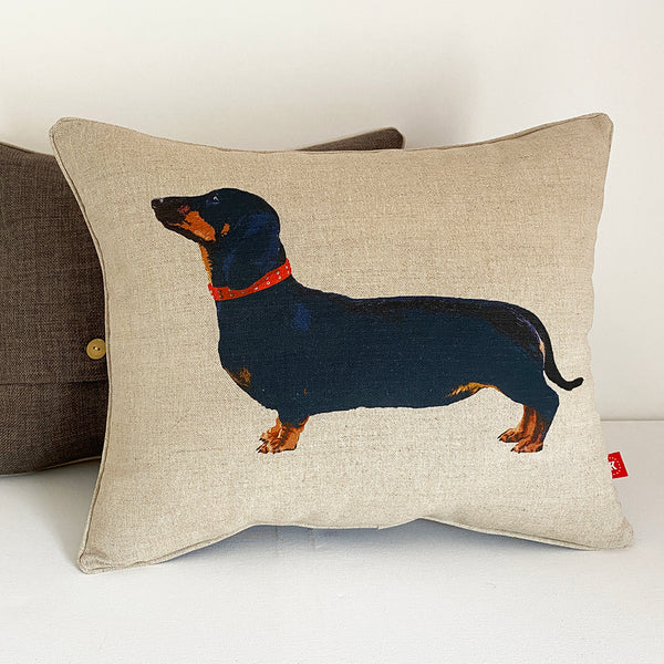 Black and tan dachshund cushion