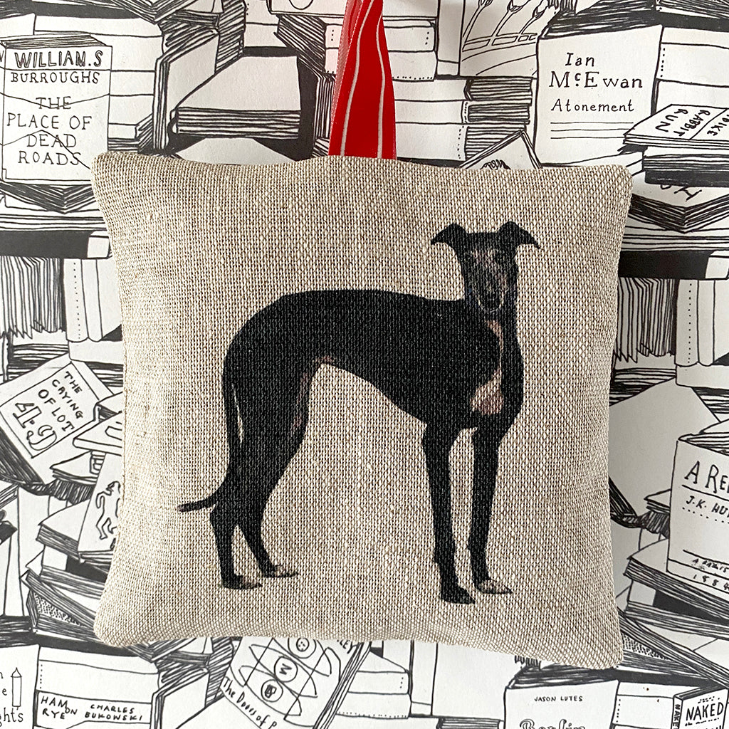 black greyhound lavender bag
