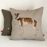 brindle and white whippet cushion