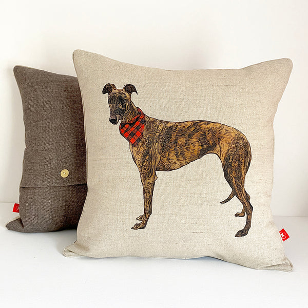 brindle greyhound cushion