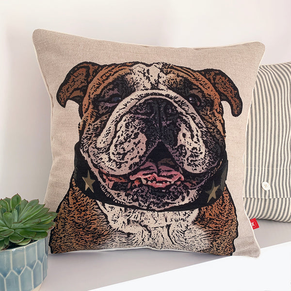 british bull dog portrait cushion