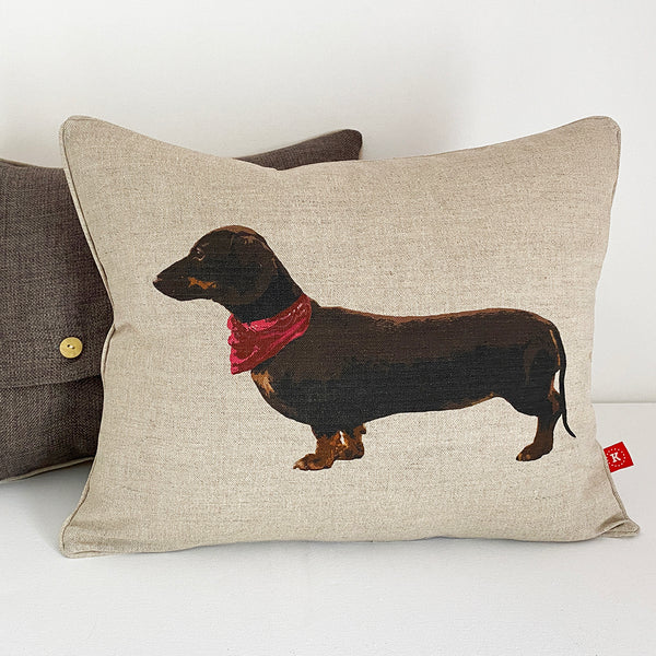 chocolate dachshund cushion