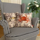 porcupine fish cushion cover with crab