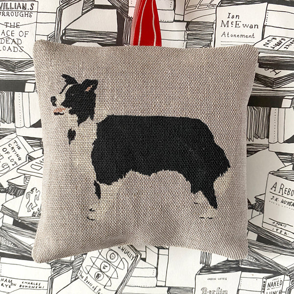 black and white collie lavender bag