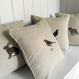 contemporary country hare rabbit wildlife linen fabric cushion