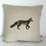 contemporary country fox wildlife linen fabric cushion