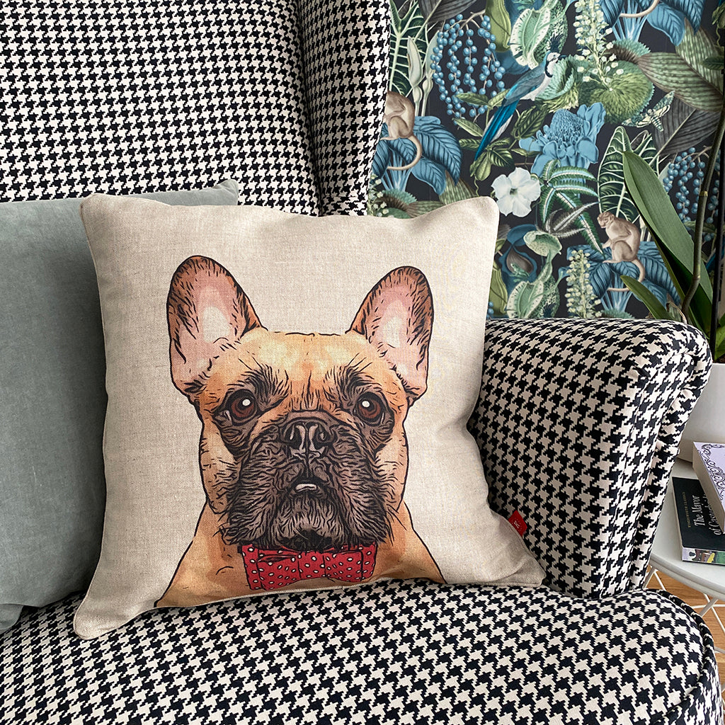 fawn french bulldog cushion