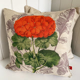 red geranium vintage floral cushion