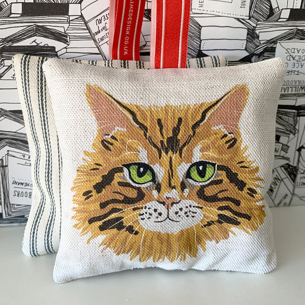 ginger tabby cat lavender bag