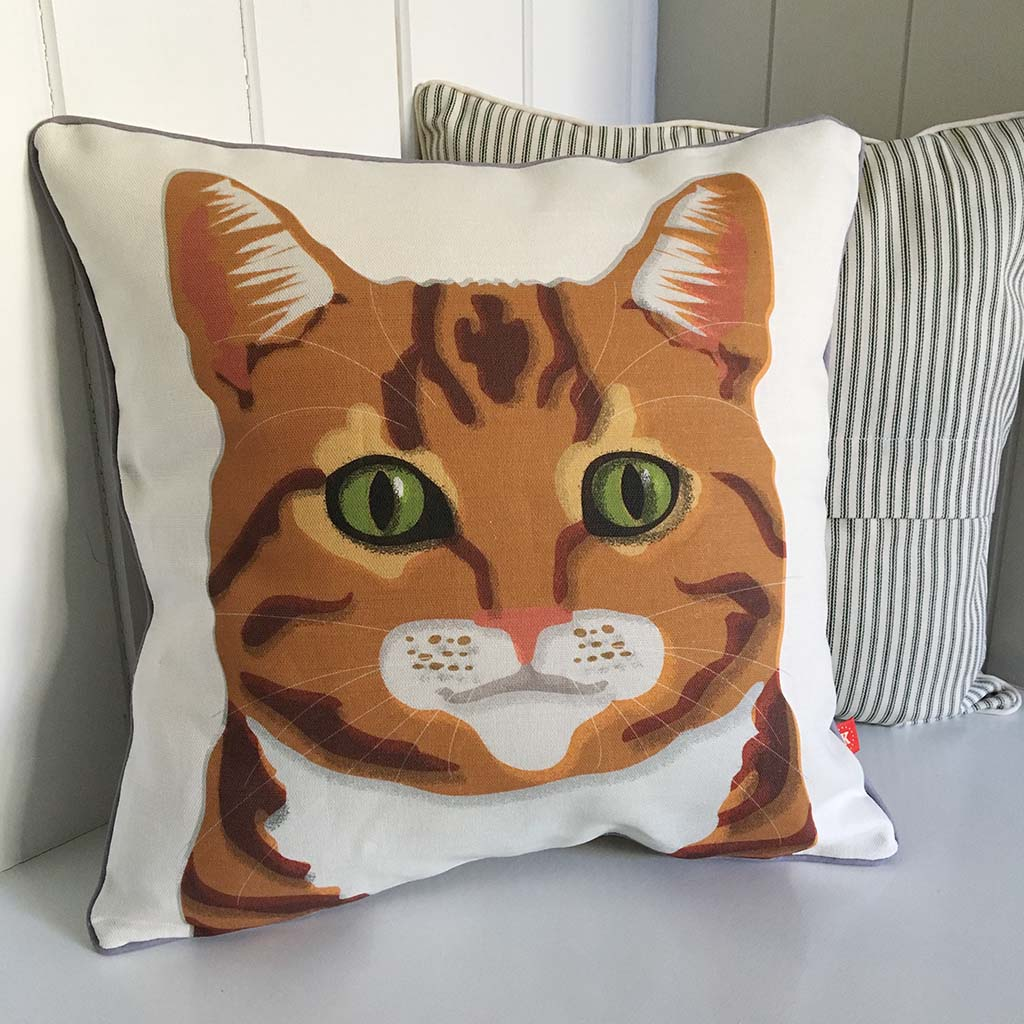 ginger marmalade orange cat contemporary cushion