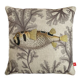 Porcupine fish cushion cover - vintage coastal
