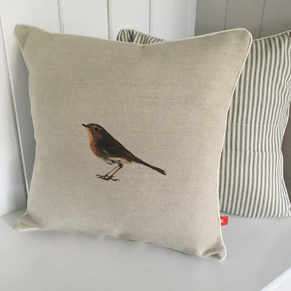 contemporary country christmas robin wildlife linen fabric cushion