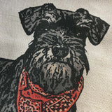 schnauzer dog portrait contemporary linen cushion