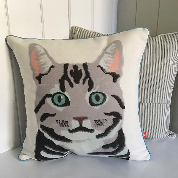 silver tabby cat contemporary cushion