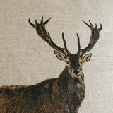 contemporary country stag deer wildlife linen fabric cushion