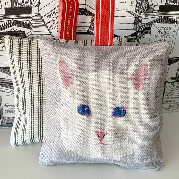 White cat lavender bag