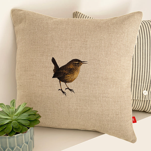 contemporary country wren wildlife linen fabric cushion