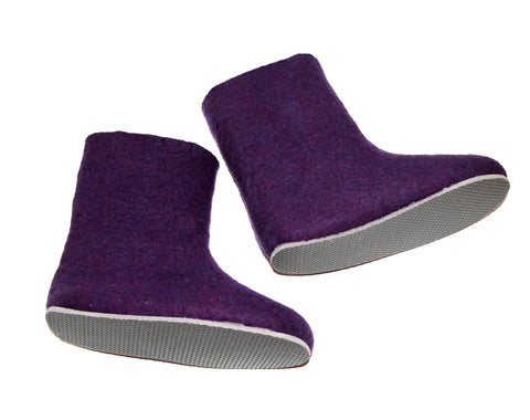 Acai Purple Wool Felted Boots Booties Womens - contrast rubber sole _woolwalker - gifts for her