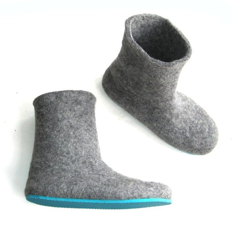 Grey Wool Felted Boots Aqua Rubber Soled