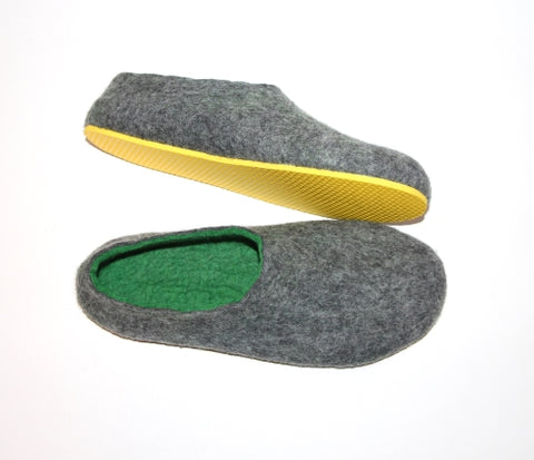 Felted slippers Charcoal Green with Yellow Rubber Sole - Men's sizes - Gift for him