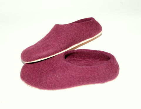Marsala felt slippers with cork sole