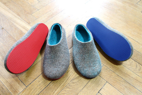 Mens Wool Slippers Rubber Soles