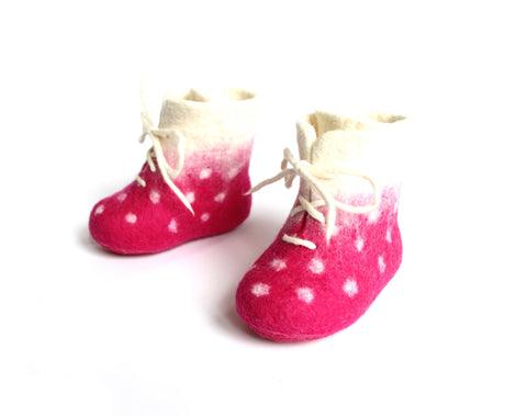 Pink Dots Wool Booties for Kids Wool Walker Wool Slippers
