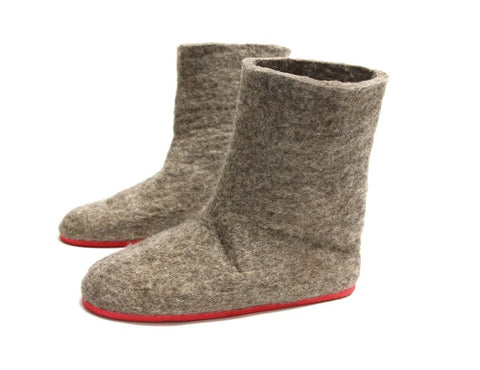 Eco Friendly Wool Felted Boots Brown Red Rubber Sole