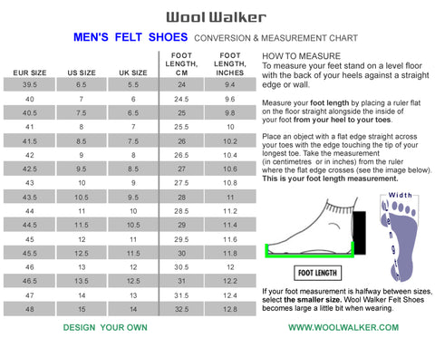 Wool Walker Mens felt shoes and wool boots size guide