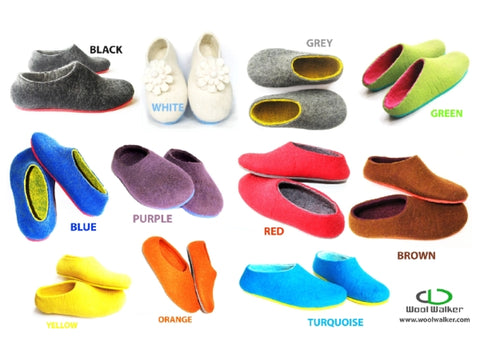 Color meaning of felt slippers at woolwalker