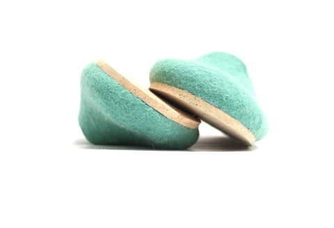 felt slippers pastel mint cork soled womens slippers