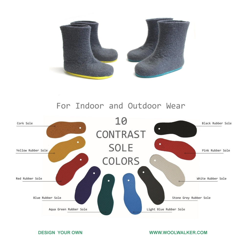 Color Rubber sole for Felt Boos
