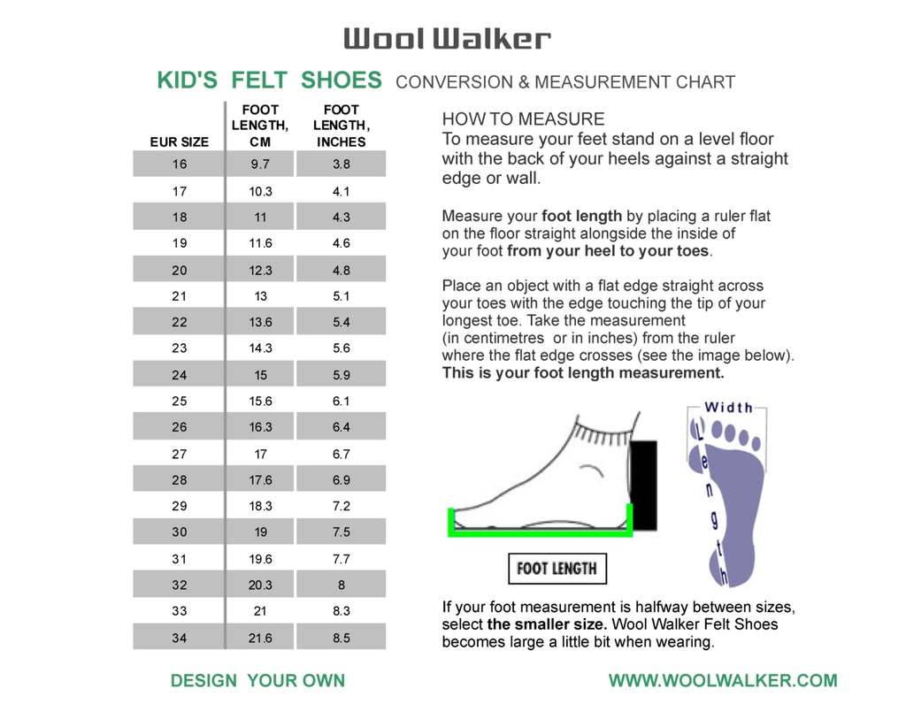 Kids Felt Boot Size guide